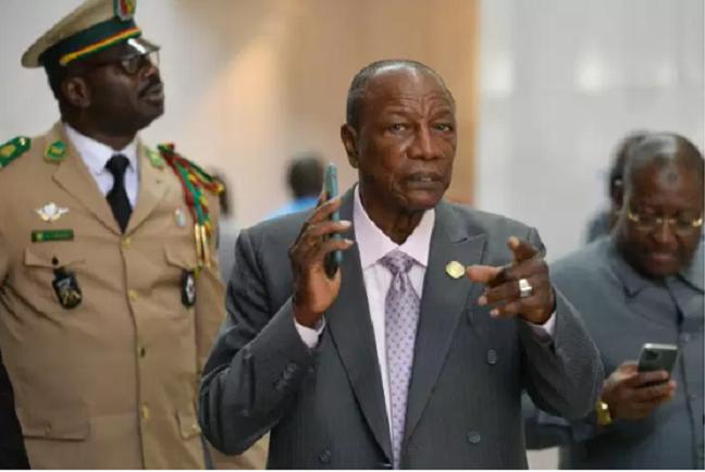 Le président guinéen, Alpha Condé, au siège de l'Union africaine, à Addis-Abeba, le 10 février 2020. MICHAEL TEWELDE / AFP