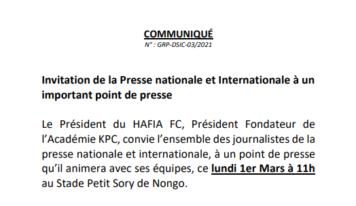 COMMUNIQUÉ: INVITATION/POINT DE PRESSE/HAFIA